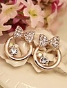 Fashion  Jewelry  Gold Plated Bowknot Stud Earrings Set with Rhinestones