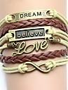 Women\'s Vintage Handmade Love Dream PU Woven Bracelet