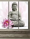 Stretched Canvas Art Lotus och Buddha Set om 3