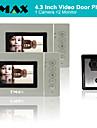 "TMAX® 4.3"" LCD Video Door Phone Doorbell Home Entry Intercom 500TVL Night Vision (1Camera to 2Monitors)"
