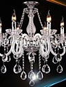 6 Lights,Modern Crystal Chandelier  In White Color , Glass & Crystal