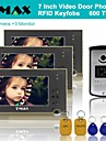 "TMAX® 7"" TFT Wired Doorbell Video Intercom Door Phone System RFID Keyfob 600TVL HD IR Camera (1Camera to 3Monitors)"