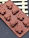 8 trou de moules a chocolat gateau de forme abeilles de bande dessinee papillon de grenouille de glace gelee, silicone 21,5 × 16,1 × 2,5 (8,5 × 6,3 ×