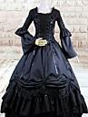 Une Piece/Robes Gothique Lolita Cosplay Vetrements Lolita Noir Couleur Pleine Manches longues Long Robe Pour Femme Coton