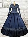 långärmad golv längd bläck blå bomull lolita kläder
