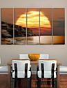 sträckt kanfas konst kust solnedgång landskap målning set om 5