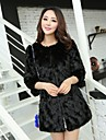 Fashion 3/4 Sleeve Collarless Faux Fur Party/Casual Coat (More Colors)