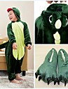 kigurumi Pyjamas Dinosaure Collant/Combinaison / Chaussons Fete / Celebration Pyjamas Animale Halloween Vert Mosaique Toison de Coral