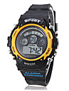 Unisex Multi-Functional LCD Digital Yellow Case Black Band Sporty Wrist Watch