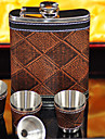 Gift Groomsman Check Design 8-oz Flask In Gift Box (6 Pieces)