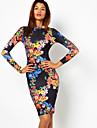 Floral Print Backless Hip Package Dress