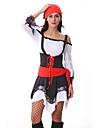 Costumes de Cosplay / Costume de Soiree Pirate Fete / Celebration Deguisement Halloween Rouge Mosaique Robe / Casque Halloween / Carnaval