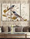 art de toile tendue retro fleurs et d\'oiseaux de peinture decorative Ensemble de 3