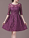 rotund dantelă gât rochie cu maneci jumătate de femei de culoare roșie Halo