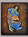 Hand Painted Impression People Oil Painting with Stretched Frame Ready to Hang
