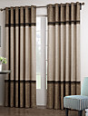 Neoclassical Two Panels Solid Beige  Brown Living Room Polyester Panel Curtains Drapes