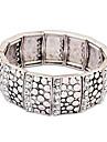 Women\'s European Ethnic Vintage Stretch Bracelet Rhinestone Dot Pattern Alloy Bangles (White Gold)(1pc)