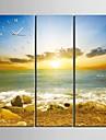 kust soluppgång landskap klocka i canvas 3st
