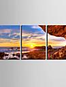 Toiles Art Paysage de la rive du Sunset Lot de 3