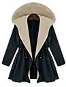 Manteau Aux femmes,Couleur Pleine Manches Longues Bleu / Vert Autres Opaque / Fin Automne