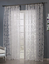 Two Panels Country Floral / Botanical White Bedroom Polyester Sheer Curtains Shades