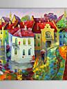 iarts®oil målning landskap bostadsområden med sträckt ram handmålade duk
