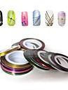 12pcs couleurs melangees rouleaux bande de striping autocollant ligne nail art de la decoration