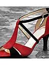Chaussures de danse (Rouge) - Non personnalisable - Talon aiguille - Satin - Danse latine