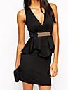 Women's   Black Deep V Ruffle Peplum Dress with Metal Plate