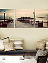 Stretched Canvas Art Landscape on the Bridge Set of 3