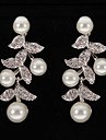 placare platină argint frunze cu cercei perle