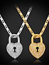 coeur de luxe topgold verrouillage pendentif aaa + zircone en or 18 carats plaque platine bijoux