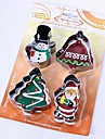 Christmas Theme 4 Pieces Snowman / Bell / Tree/ Santa Shape Cookie Cutter, Stainless Steel