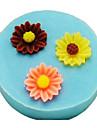 tre hål solrosformad baka fondant tårta mögel, l3.3cm * w3.3m * h1cm