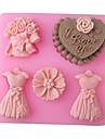 wedding älskar full dress bakning fondant tårta choclate godis mögel, l8.3cm * w7.7cm * h1.8cm