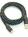 USB 2.0 Micro USB 2.0 Flätad Kabel Till Huawei Sony Nokia HTC Motorola LG Lenovo Xiaomi 200 cm PVC Nylon