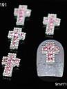 10st glitter korsar diy legering rosa rhinestone tillbehör nail art dekoration