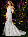 Lanting Bride Lanting Trumpet/Mermaid Wedding Dress - Ivory Chapel Train V-neck Mikado