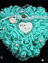 Heart Shape Rose Flower Pearl Ring Box Pillow for Wedding (26*26*13cm) Peacock Wedding