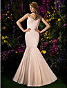 Lanting Bride® Sweep / Brush Train Tulle Bridesmaid Dress Fit & Flare Spaghetti Straps Plus Size / Petite withCriss Cross / Ruching /