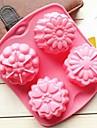 4 trous moules de chocolat de gelee de glace differentes fleurs forme moule a cake, silicone 15,5 × 14 × 3 cm (6,1 × 5,5 × 1,2 pouces)