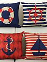 un ensemble de quatre motif coton nautique / linge taie d\'oreiller decoratif