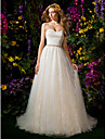 Lanting Bride® Ball Gown Petite Wedding Dress Chapel Train Sweetheart Tulle with