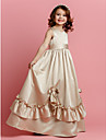 Lanting Bride® A-line Floor-length Flower Girl Dress - Satin Sleeveless Jewel with Beading Bow(s) Sash / Ribbon