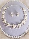 korean tredelade bröllop smycken pärlhalsband krona
