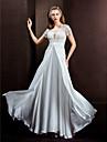 Lanting Bride® Linha A / Princesa Pequeno / Tamanhos Grandes Vestido de Noiva Transparencias Longo Decorado com BijuteriaRenda / Chiffon