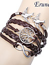 Eruner® Women\'s Multilayer Alloy Love Birds Life Tree and Infinity Handmade Leather Bracelet