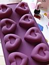 8 trous moules de chocolat de gelee de glace gateau de coeur de moule, silicone 30 × 17,5 × 3 cm (11,8 × 6,9 × 1,2 pouces)