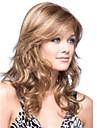 Capless blont långt högkvalitativa naturliga lockigt hår syntetisk peruk med sidan Hjälp;