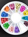 36pcs colores secs fleur de pecher Decorations Nail Art
